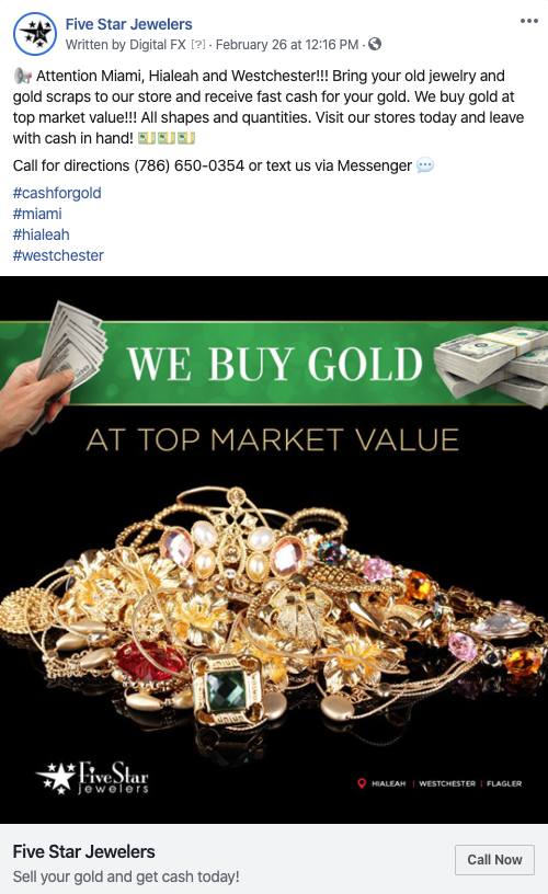 Five Star Jewelers Facebook Ads
