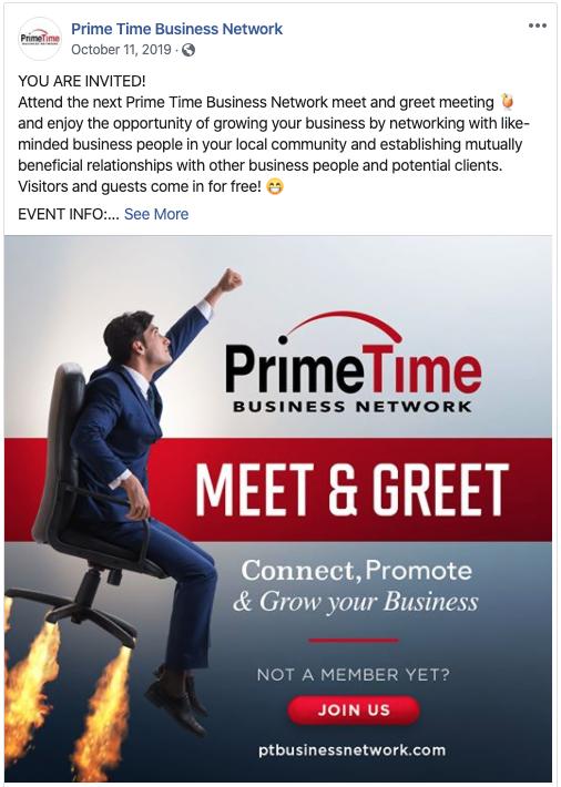 Prime Time Business Network Linkedin Post