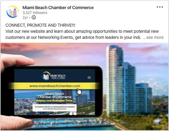 Miami Beach Chamber of Commerce Linkedin Post
